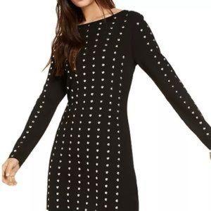 INC Dress Black Knit L/S Silver Studs Mini NWT L
